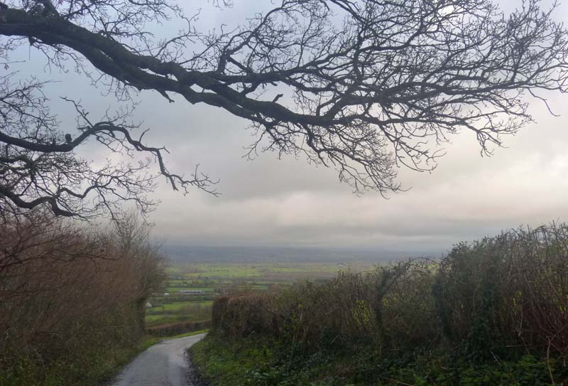 Rain coming from the Mendip Hills? It turned out to be hanging cloud.